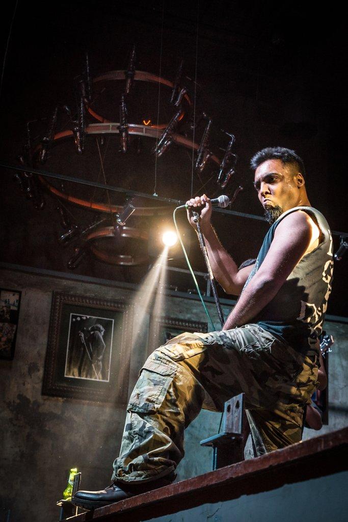 Nitin Rajan, frontman of PRIMITIV, on the stage of Hard Rock Cafe Worli.
