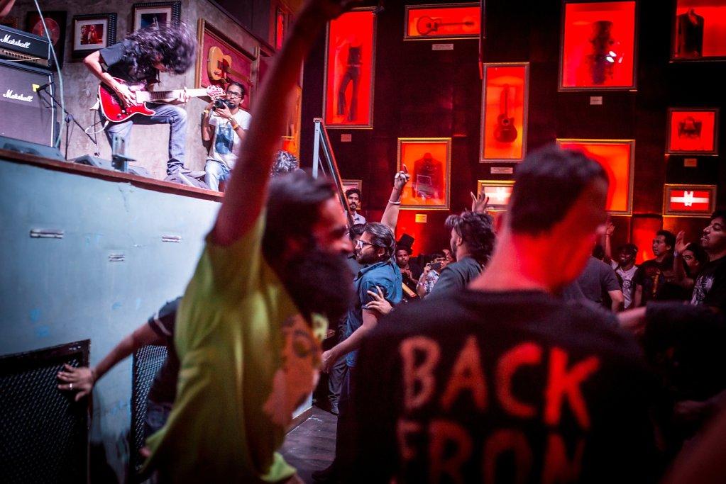 Crowd doing a pogo during GUTSLIT's performance at Hard Rock Cafe Worli.