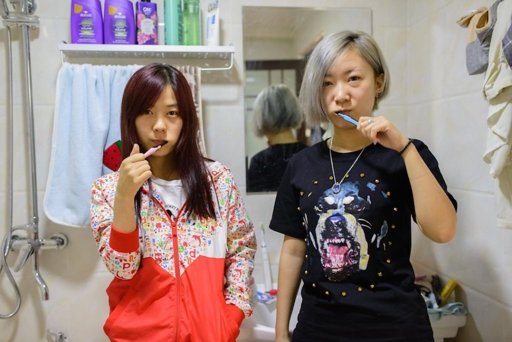 Li Min and Yi Xi (Professional gamers) in their apartmernt bathroom