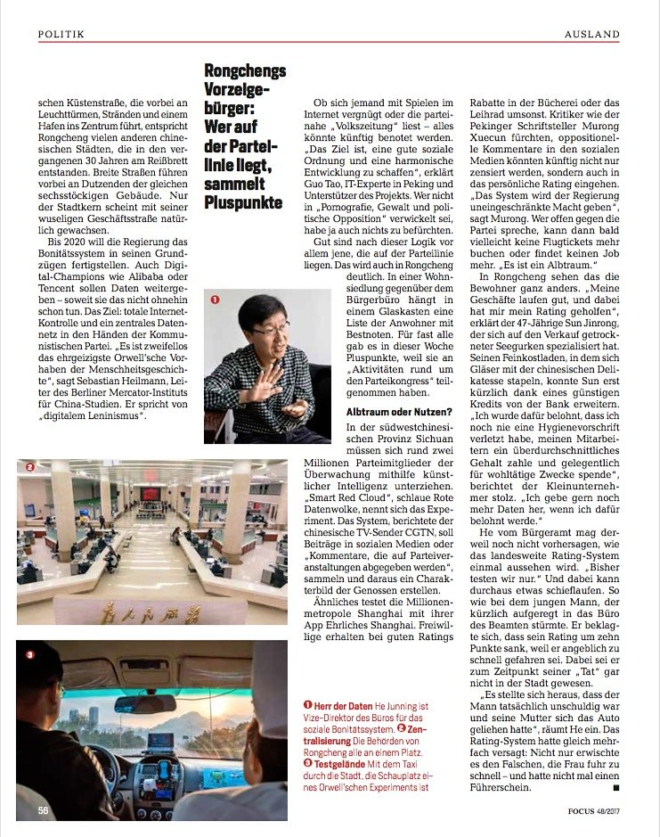 Focus Magazin: Article on Social-Credit Ratings (1/3)